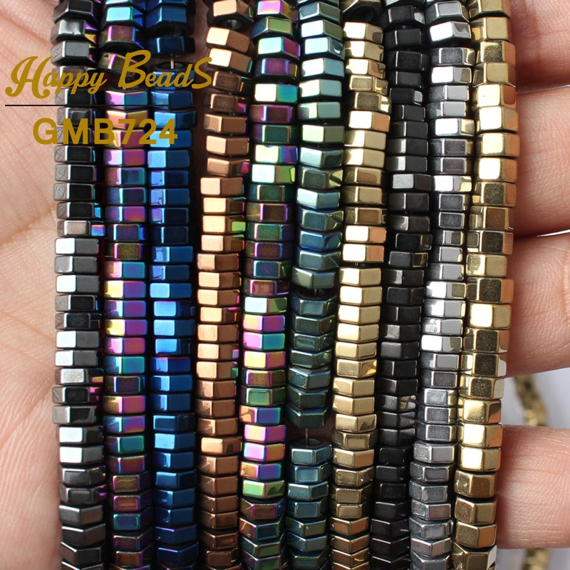 10 Color Faceted Cylinder Shape Hematite Natural Stone Spacer Beads 2.3mm Big Hole Beads 6x2mm For Jewelry Diy Bracelet Making